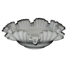 "Vintage Fenton Silver Crest Milk Glass Round Double-Crimped 13"" Bowl"