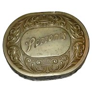 Vintage Brass Pozzoni's Powder Tin circa 1912