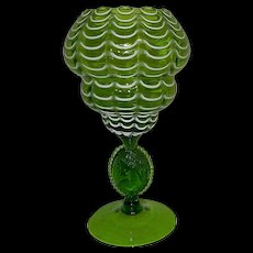 Victorian Nailsea Style Glass Compote or Vase with Cameo Medallion Stem