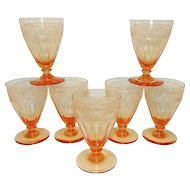 Vintage Peach Colored Optic with Diamond Design Wine or Cordials
