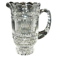 Vintage 40 oz. Thumbprint Crystal Pitcher with Scalloped Top