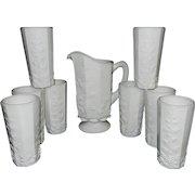 Vintage Westmoreland Milk Glass 12oz. Paneled Grape Pattern Flat Iced Tea Tumbler with One Quart Pitcher