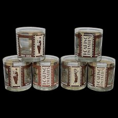 Set of 6 Roaring Twenties Hollywood Film Stars on Rock Glasses or Double Old Fashioned