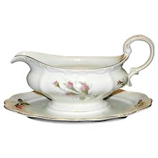 Vintage Rosenthal Moss Rose China Gravy Boat with Attached Underplate