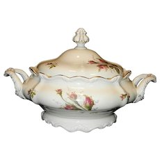 Vintage Rosenthal Moss Rose China 9 inch Round Covered Vegetable Bowl
