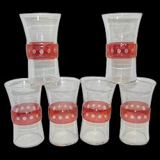 Vintage Cranberry Flashed Tumbler with Intaglio Dots