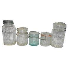 Vintage Hazel Atlas Fruit Jars Set of 5 includes Half Pints, Pint and Quarts