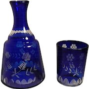 Vintage Cut to Clear Cobalt Blue Bedside Water Carafe/Decanter with Glass