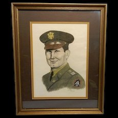 Vintage Art Pencil Portrait of a Captain in the Fifth Army North
