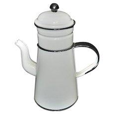 Vintage French Country White Enamel Biggin Coffee Pot with Black Trim