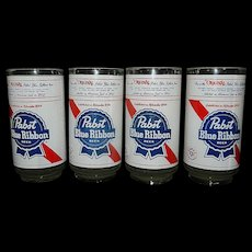 Vintage 1980s PABST BLUE RIBBON Beer 6 inch Tumbler