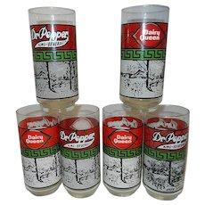"""Vintage Dr. Pepper 6"""" Souvenir Collector Glasses"""