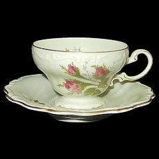 Rosenthal Moss Rose POMPADOUR Pattern Footed Demitasse Cup & Saucer
