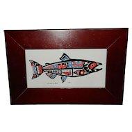 Vintage Roxana Leask Native Artwork Salmon Trinket Box