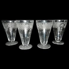 Vintage Etched Optic Crystal Footed Tumbler or Sundae Glasses