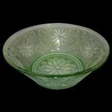 Vintage Sandwich Glass Light Green (Chantilly) Vegetable Bowl by TIARA