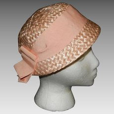 Vintage Pink Cloche Style Straw Hat