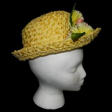 Vintage Janyth Roy New York Yellow Straw Hat with Flowers