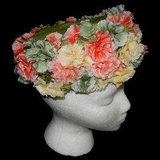 Vintage Jan Leslie Custom Design Hat with Flowers