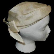 Vintage Beige Pillbox Hat with Bow