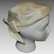 Vintage Beige Pillbox Hat with Bow