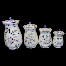 Vintage 1950's 4 pc Set Royal Sealy Heritage Blue Onion Japan Canisters