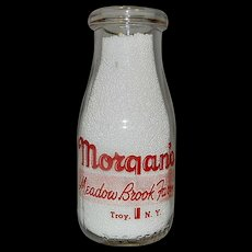 Vintage Half Pint Morgan Morgan's Meadow Brook Farm Milk Bottle Troy NY