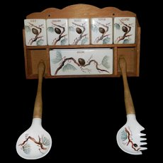 Vintage Made In Japan Wall Spice Rack with Fork and Spoon