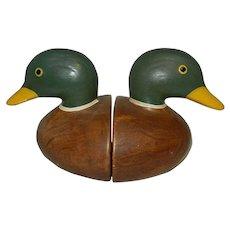 Vintage Ceramic Duck Head Bookends