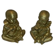Vintage Pair of Brass Child in Jester Suit Paperweight or Bookends