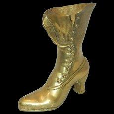 Vintage Solid Brass Victorian High Button Shoe Vase
