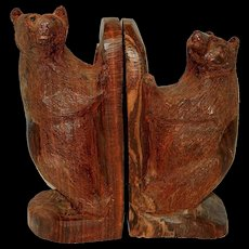 Vintage Black Forest Hand Carved Bear Bookends
