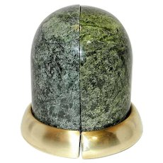 Vintage Dome Shaped Green Marble Bookends with Brass Base