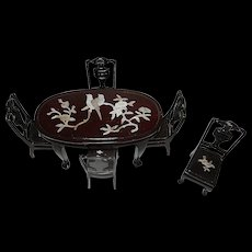 Vintage Dollhouse Miniature 1:12 Ming Chinese Asian Inlaid 6 pc Dining Table Chairs