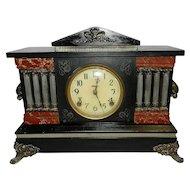 Vintage E. Ingraham 8-Column Black Mantel Clock, circa 1910's