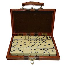 Vintage Double Six Domino Set with Brass Spinners Brown Faux Leather Game Case