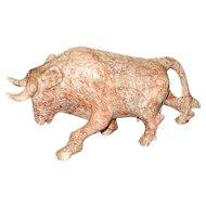Vintage Large Pink Marble Carved Bull