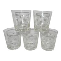 Mid Century Intaglio Polka Dot Old Fashioned Glasses