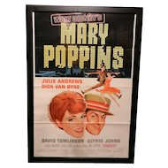 Vintage Original 27 x 41 One Sided Disney's Mary Poppins 1964 Movie Poster
