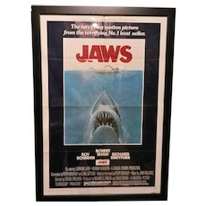 Vintage Original One Sheet 27 x 41 1975 Jaws Movie Poster