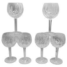 Vintage Waterford Crystal Lismore Pattern Balloon Wine Glasses
