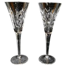 Vintage Waterford Lismore Crystal Fluted Toasting Champagne Glasses