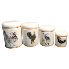Vintage Italian Hand Painted Global View Canister Set with Chickens