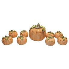 Vintage Fitz & Floyd Vegetable Garden Pumpkin 5QT Lidded Tureen with Ladle and 8 Pumpkin Soup Bowls and Saucers