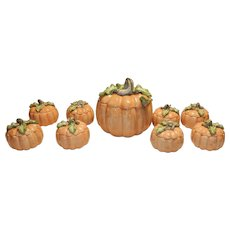 Vintage Fitz & Floyd Vegetable Garden Pumpkin 5QT Lidded Tureen with Ladle and 8 Pumpkin Soup Bowls and Saucers