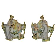 Vintage Pair of  Lady and Cherub Porcelain Planters