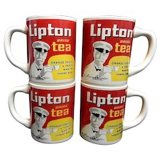 Vintage Thomas J Lipton Brisk Tea Ceramic Advertising Mugs