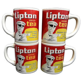 Vintage Thomas J Lipton Brisk Tea Ceramic Advertising Mugs