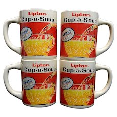 Vintage Lipton Cup-a-Soup Advertising Mugs