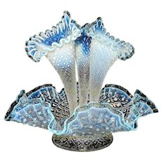 Vintage Fenton Diamond Lace Epergne in French Opalescent with Azure  Blue Edge Accents